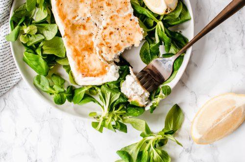 gebakken feta met citroen