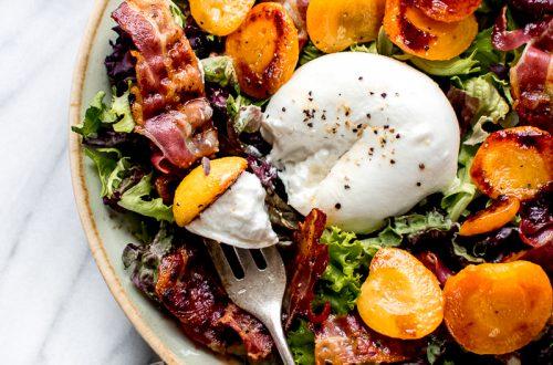 salade met gekarameliseerde abrikoos
