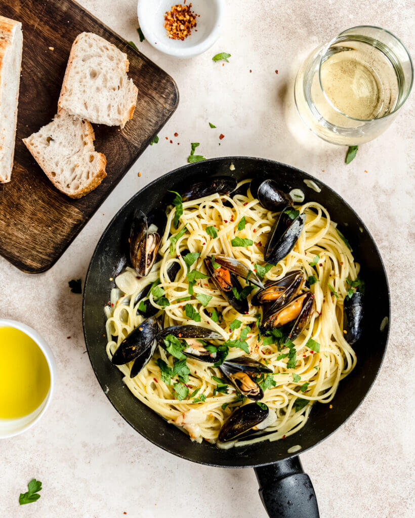 Spaghetti mosselen