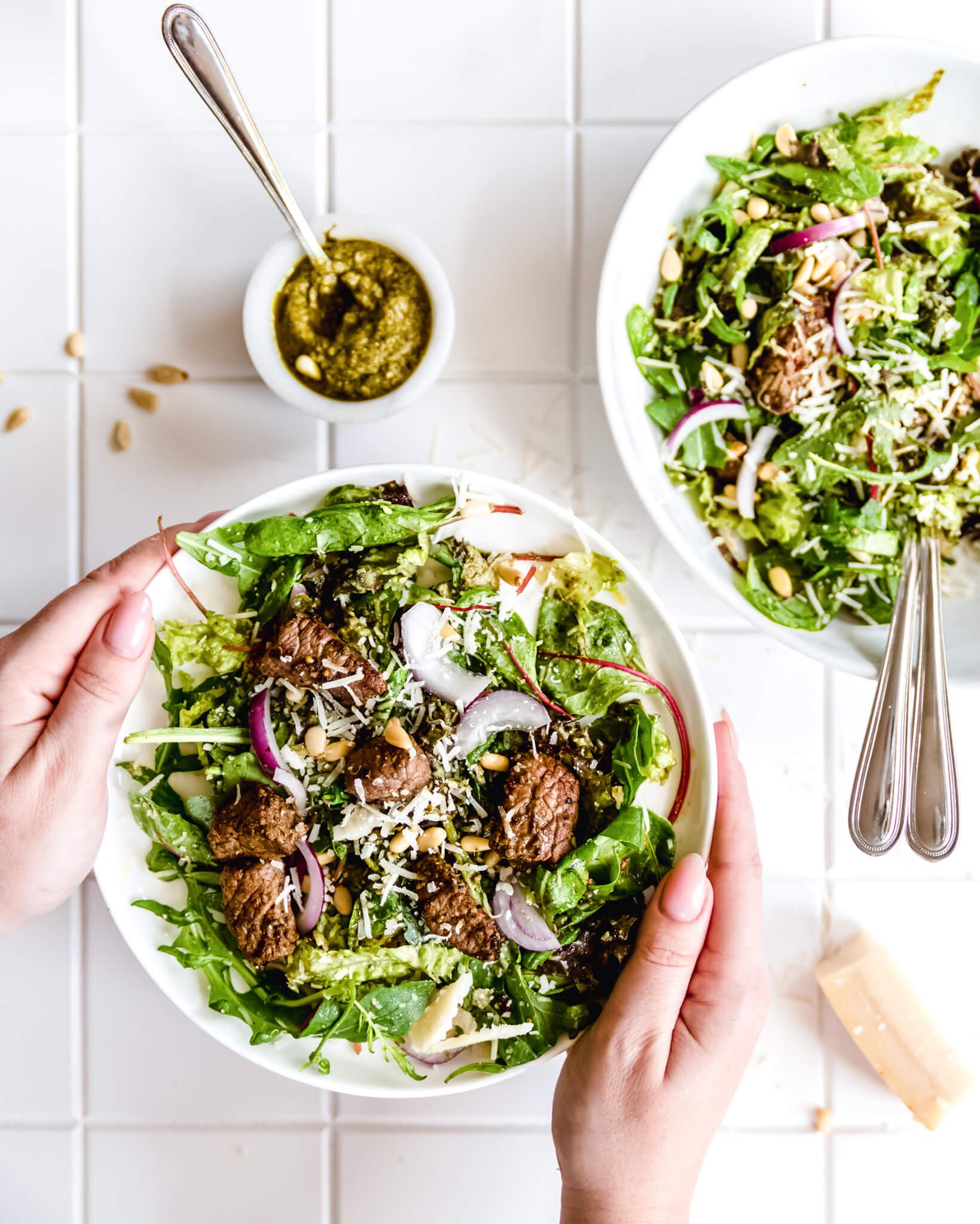 salade met biefstukreepjes