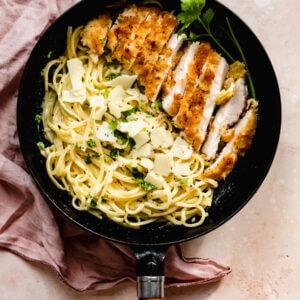 romige spaghetti met krokante kip
