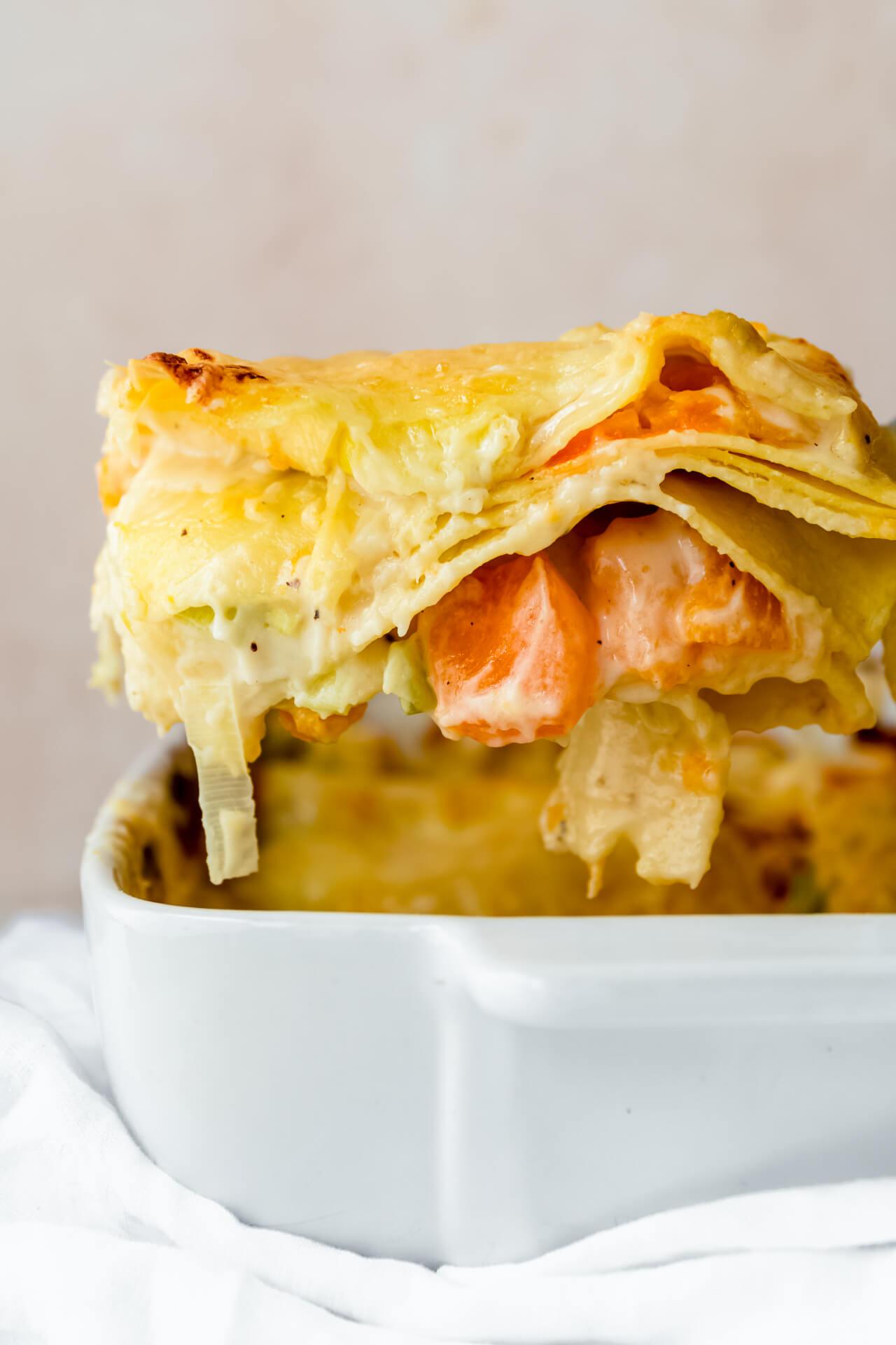 Vegetarische lasagne met prei en pompoen