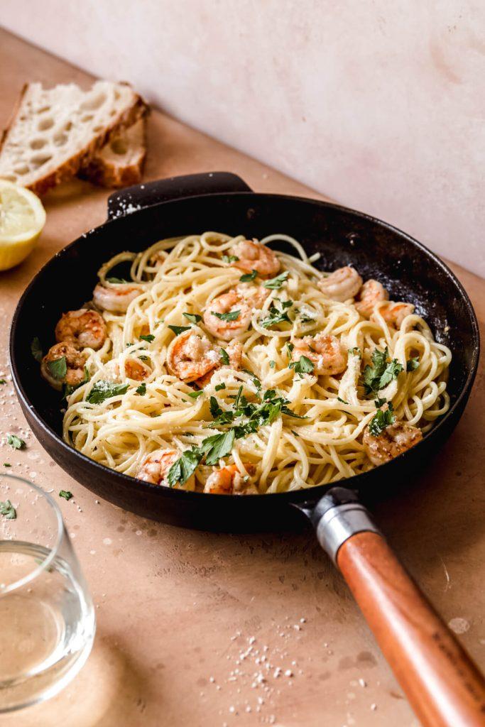 spaghetti met garnalen in citroensaus