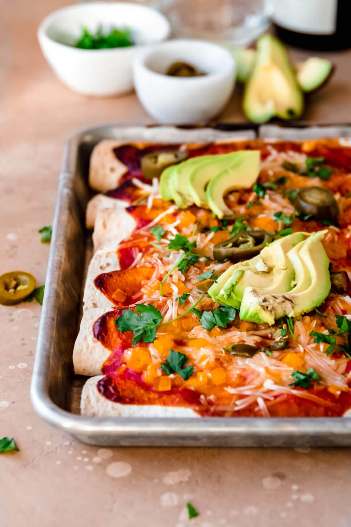 Vegan enchilada met jackfruit
